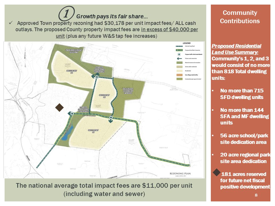 8 Proposed Residential Land Use Summary: Community's 1, 2, and 3 would consist of no more than 818 Total dwelling units: No more than 715 SFD dwelling units No more than 144 SFA and MF dwelling units 56 acre school/park site dedication area 20 acre regional park site area dedication  181 acres reserved for future net fiscal positive development ① Growth pays its fair share… Approved Town property rezoning had $30,178 per unit impact fees/ ALL cash outlays.