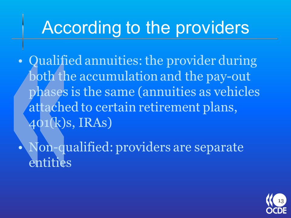According to the providers Qualified annuities: the provider during both the accumulation and the pay-out phases is the same (annuities as vehicles attached to certain retirement plans, 401(k)s, IRAs) Non-qualified: providers are separate entities 13