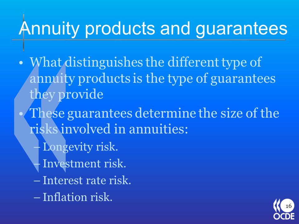 Annuity products and guarantees What distinguishes the different type of annuity products is the type of guarantees they provide These guarantees determine the size of the risks involved in annuities: –Longevity risk.
