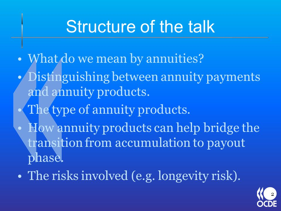 Structure of the talk What do we mean by annuities? Distinguishing between annuity payments and annuity products. The type of annuity products. How an