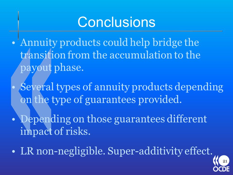 Conclusions Annuity products could help bridge the transition from the accumulation to the payout phase.