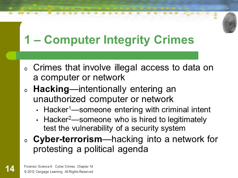 14 Forensic Science II: Cyber Crimes, Chapter 14 © 2012 Cengage Learning.