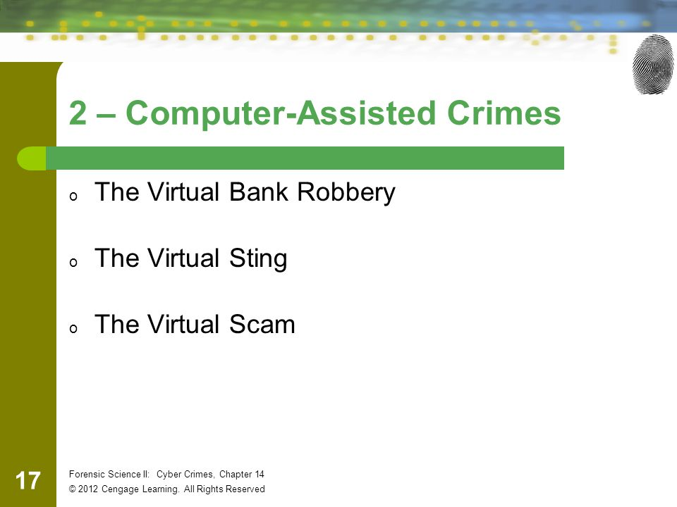 17 Forensic Science II: Cyber Crimes, Chapter 14 © 2012 Cengage Learning.