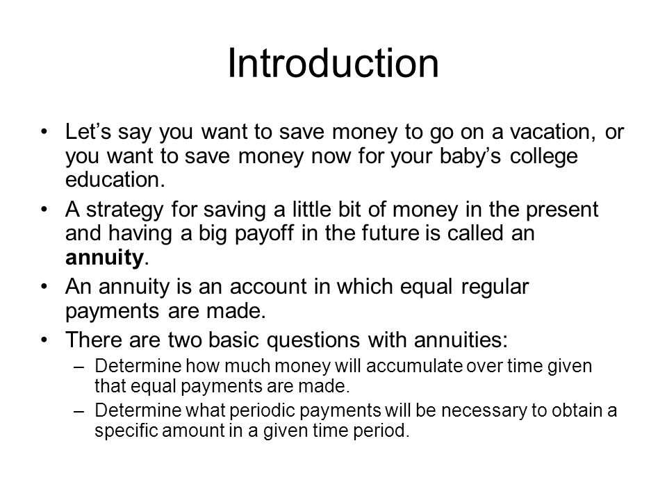 Calculating short-term annuities Claire wants to take a nice vacation trip, so she begins setting aside $250 per month.
