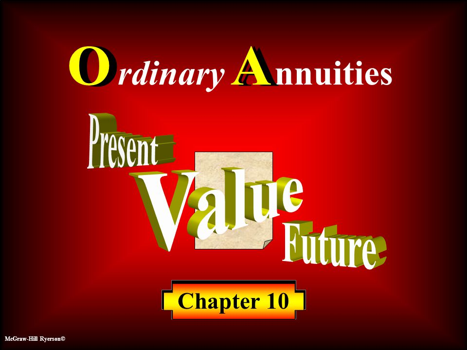 Ordinary Annuities Ordinary Annuities1010 McGraw-Hill Ryerson© 10-22 10% Compounded Annually $10.00 Years 0 1 2 3 4 5 14.64 13.31 12.10 11.00 10.00 C ontribution $ $61.05 FV Contributions $10.00 FV