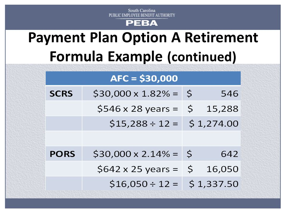 Payment Plan Option A Retirement Formula Example (continued)