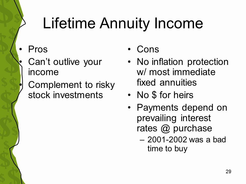 30 Using Fixed Immediate Annuities in Retirement TIAA-CREF research study (2000) –65 year old retiree –Conservative portfolio –4.5% withdrawal rate –Only 33% chance of lasting 30 years Purchase annuity with 25% of assets –53% chance of lasting 30 years