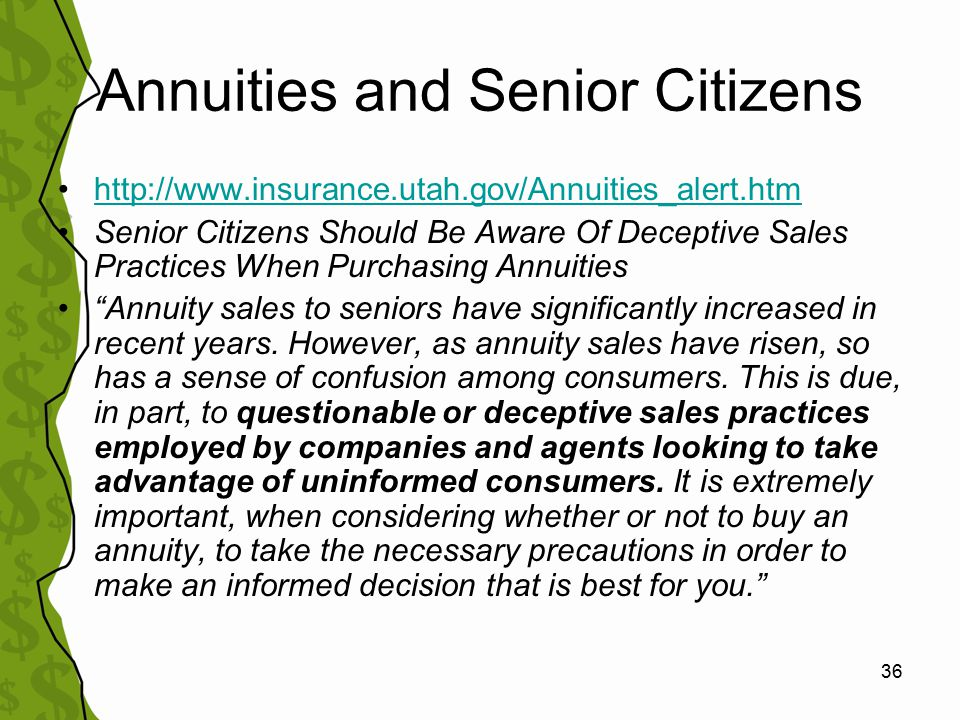 37 Annuity sales pitches to sellers: Who can you trust?* Not all annuities are created equal.
