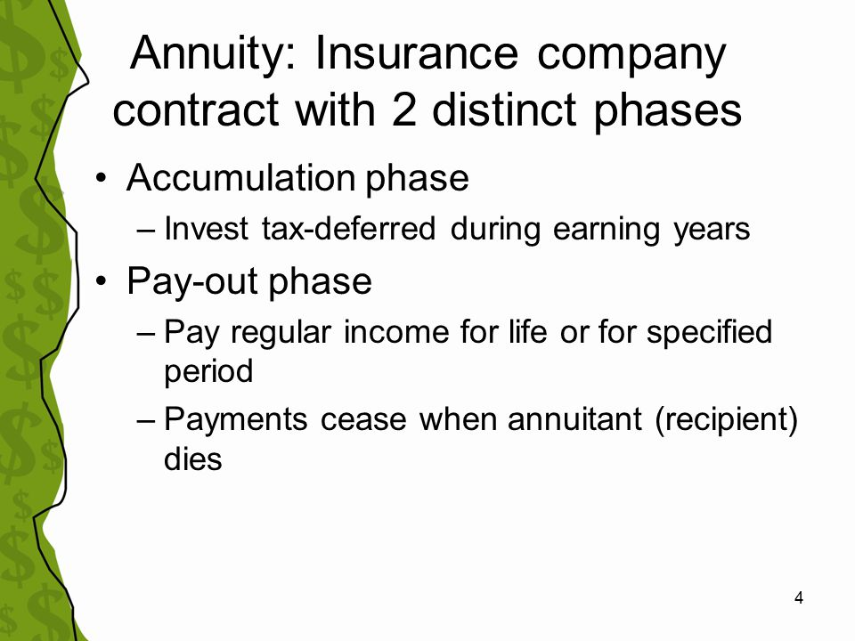 5 Annuity plans offered through Employers –403(b) or 401(k) plans –Limits on yearly contributions –Today our focus is on individually purchased annuities, NOT employer plans –Similar concepts –No sales commissions when participating in employer plan