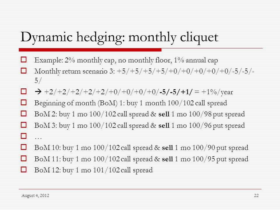 August 4, 201222 Dynamic hedging: monthly cliquet  Example: 2% monthly cap, no monthly floor, 1% annual cap  Monthly return scenario 3: +5/+5/+5/+5/+0/+0/+0/+0/+0/-5/-5/- 5/  +2/+2/+2/+2/+2/+0/+0/+0/+0/-5/-5/+1/ = +1%/year  Beginning of month (BoM) 1: buy 1 month 100/102 call spread  BoM 2: buy 1 mo 100/102 call spread & sell 1 mo 100/98 put spread  BoM 3: buy 1 mo 100/102 call spread & sell 1 mo 100/96 put spread  …  BoM 10: buy 1 mo 100/102 call spread & sell 1 mo 100/90 put spread  BoM 11: buy 1 mo 100/102 call spread & sell 1 mo 100/95 put spread  BoM 12: buy 1 mo 101/102 call spread