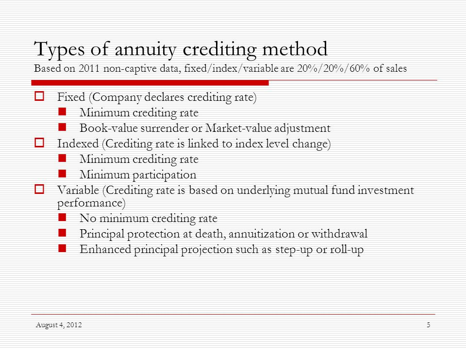 August 4, 201216 Illustration of profitability of indexed annuity  Example based on a 7-year surrender-charge period product  Revenue Risk-free rate Credit spread less expected default Contingent surrender charge to recover acquisition expenses  Expenses Acquisition cost Maintenance cost Minimum crediting rate Cost of capital charge plus profit margin Option budget