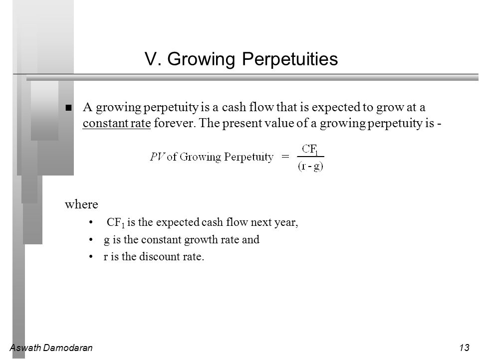 Aswath Damodaran13 V. Growing Perpetuities A growing perpetuity is a cash flow that is expected to grow at a constant rate forever. The present value