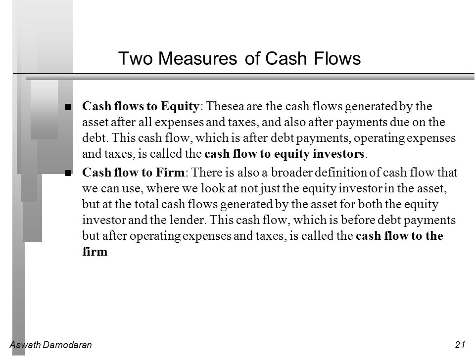 Aswath Damodaran21 Two Measures of Cash Flows Cash flows to Equity: Thesea are the cash flows generated by the asset after all expenses and taxes, and also after payments due on the debt.
