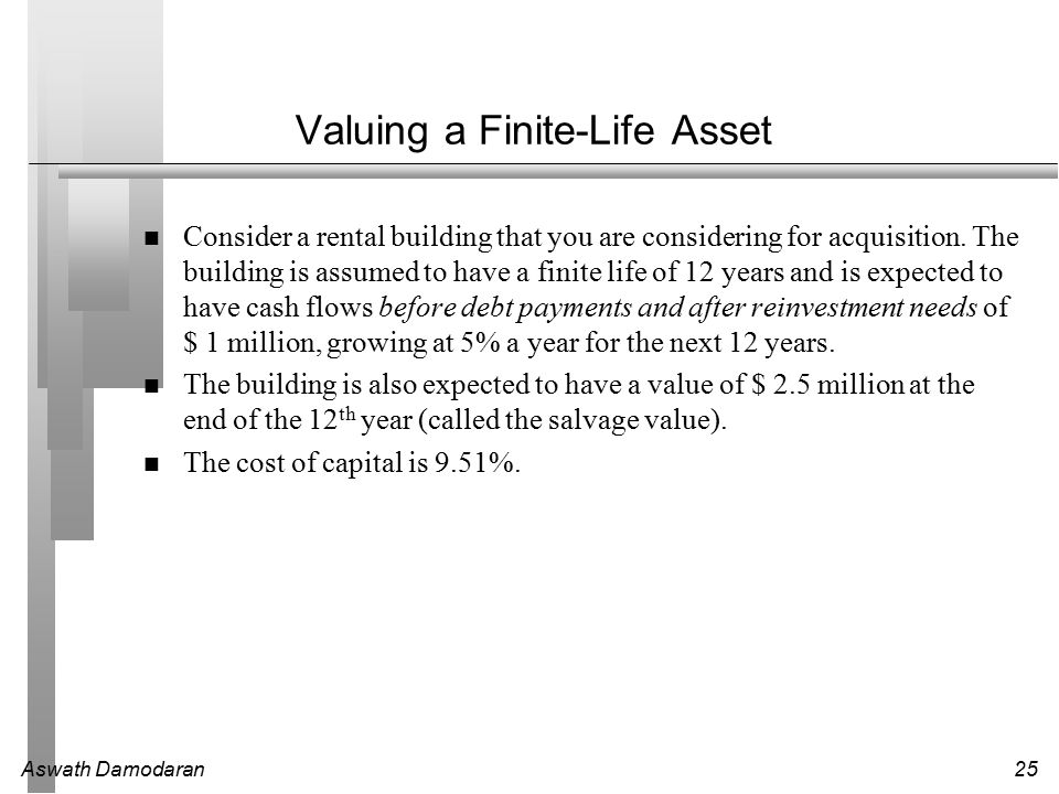Aswath Damodaran25 Valuing a Finite-Life Asset Consider a rental building that you are considering for acquisition.