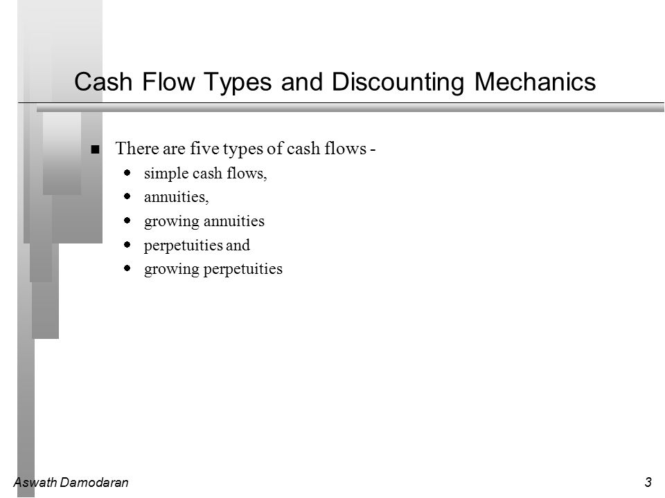 Aswath Damodaran3 Cash Flow Types and Discounting Mechanics There are five types of cash flows -  simple cash flows,  annuities,  growing annuities  perpetuities and  growing perpetuities
