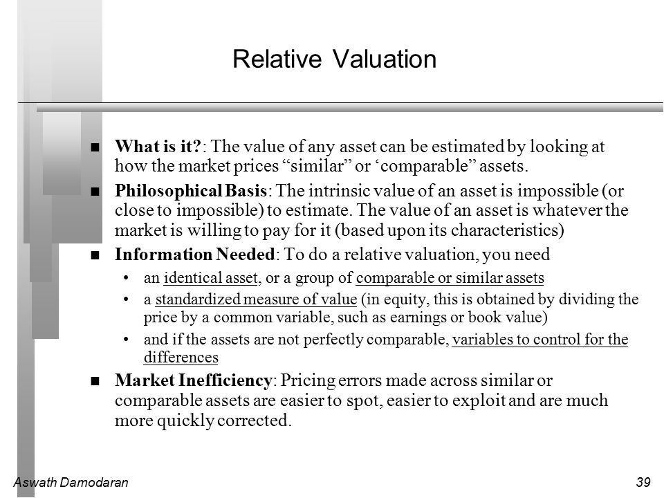 Aswath Damodaran39 Relative Valuation What is it : The value of any asset can be estimated by looking at how the market prices similar or 'comparable assets.