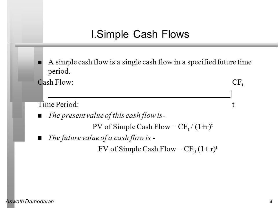 Aswath Damodaran4 I.Simple Cash Flows A simple cash flow is a single cash flow in a specified future time period.