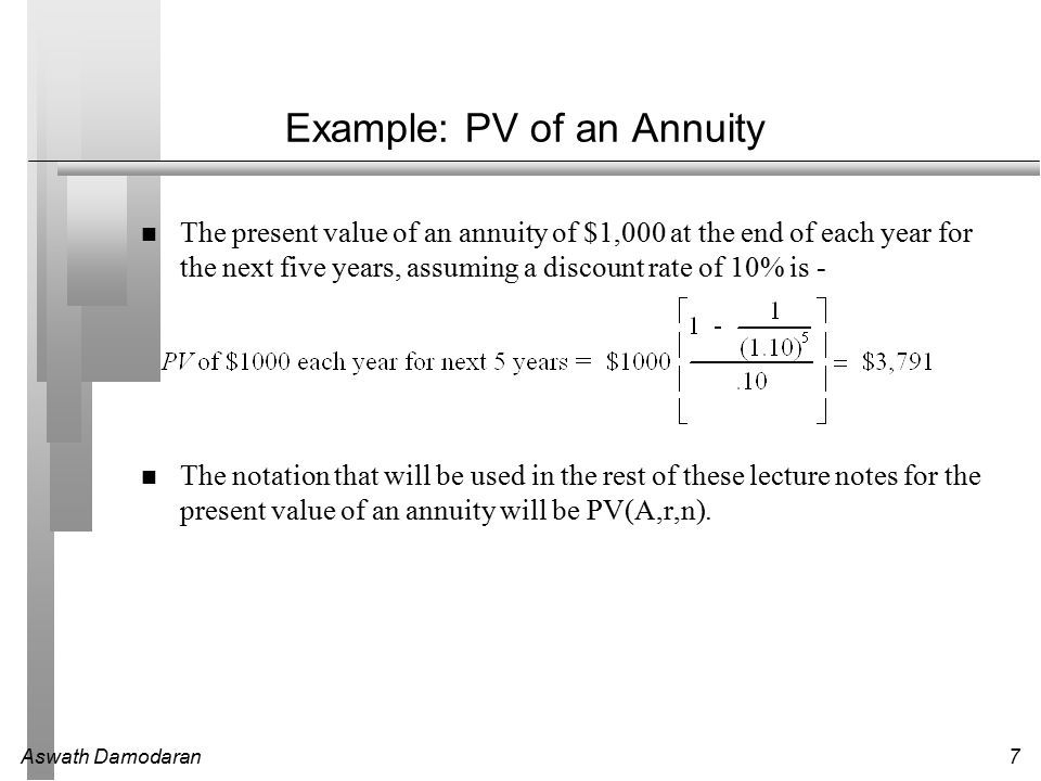Aswath Damodaran7 Example: PV of an Annuity The present value of an annuity of $1,000 at the end of each year for the next five years, assuming a discount rate of 10% is - The notation that will be used in the rest of these lecture notes for the present value of an annuity will be PV(A,r,n).