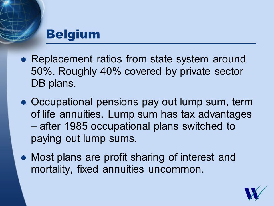 Belgium Replacement ratios from state system around 50%.