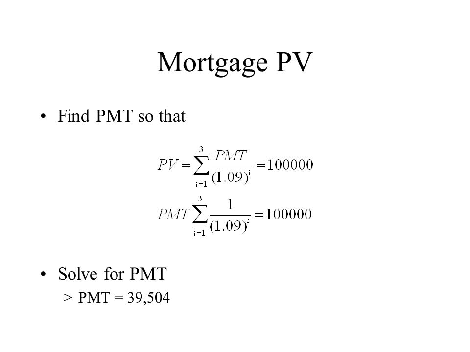Mortgage PV Find PMT so that Solve for PMT >PMT = 39,504