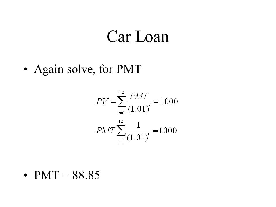 Car Loan Again solve, for PMT PMT = 88.85