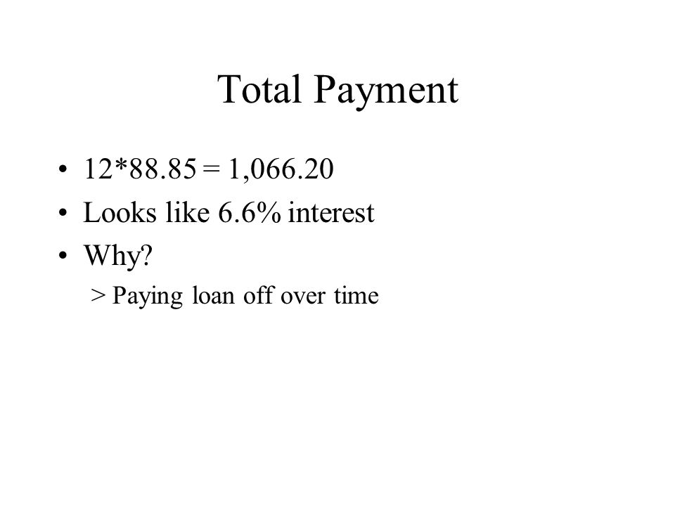 Total Payment 12*88.85 = 1,066.20 Looks like 6.6% interest Why? >Paying loan off over time