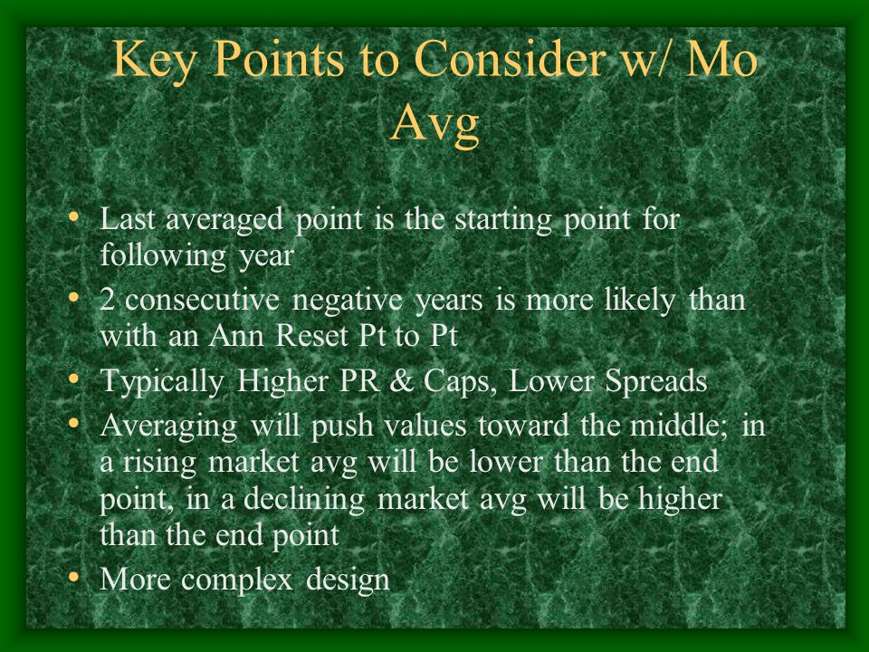 Key Points to Consider w/ Mo Avg Last averaged point is the starting point for following year 2 consecutive negative years is more likely than with an Ann Reset Pt to Pt Typically Higher PR & Caps, Lower Spreads Averaging will push values toward the middle; in a rising market avg will be lower than the end point, in a declining market avg will be higher than the end point More complex design