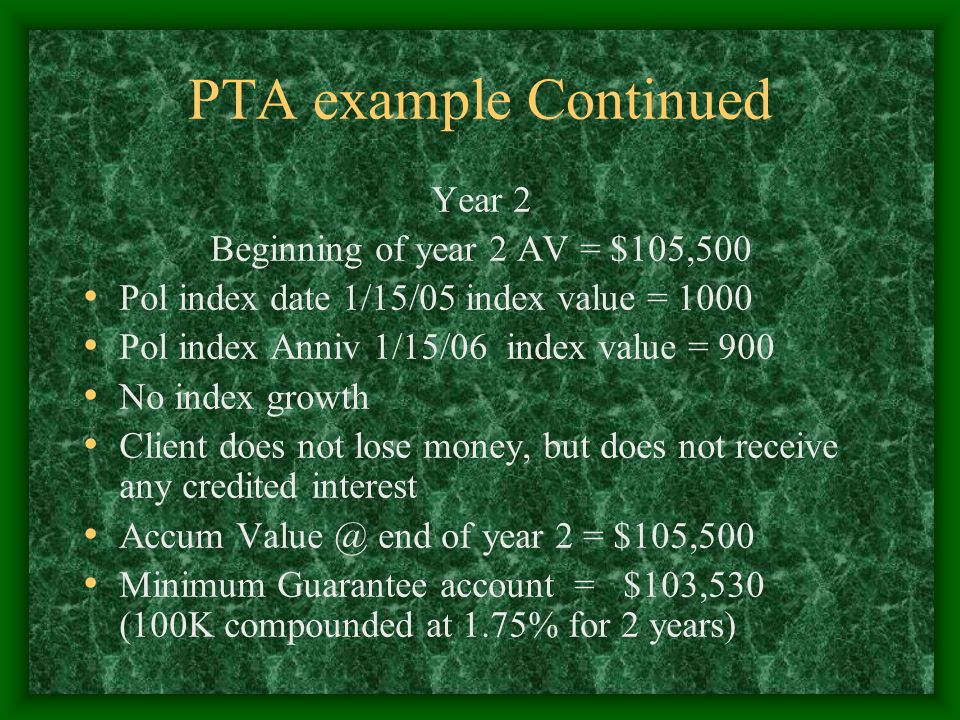 PTA example Continued Year 2 Beginning of year 2 AV = $105,500 Pol index date 1/15/05 index value = 1000 Pol index Anniv 1/15/06 index value = 900 No index growth Client does not lose money, but does not receive any credited interest Accum Value @ end of year 2 = $105,500 Minimum Guarantee account = $103,530 (100K compounded at 1.75% for 2 years)