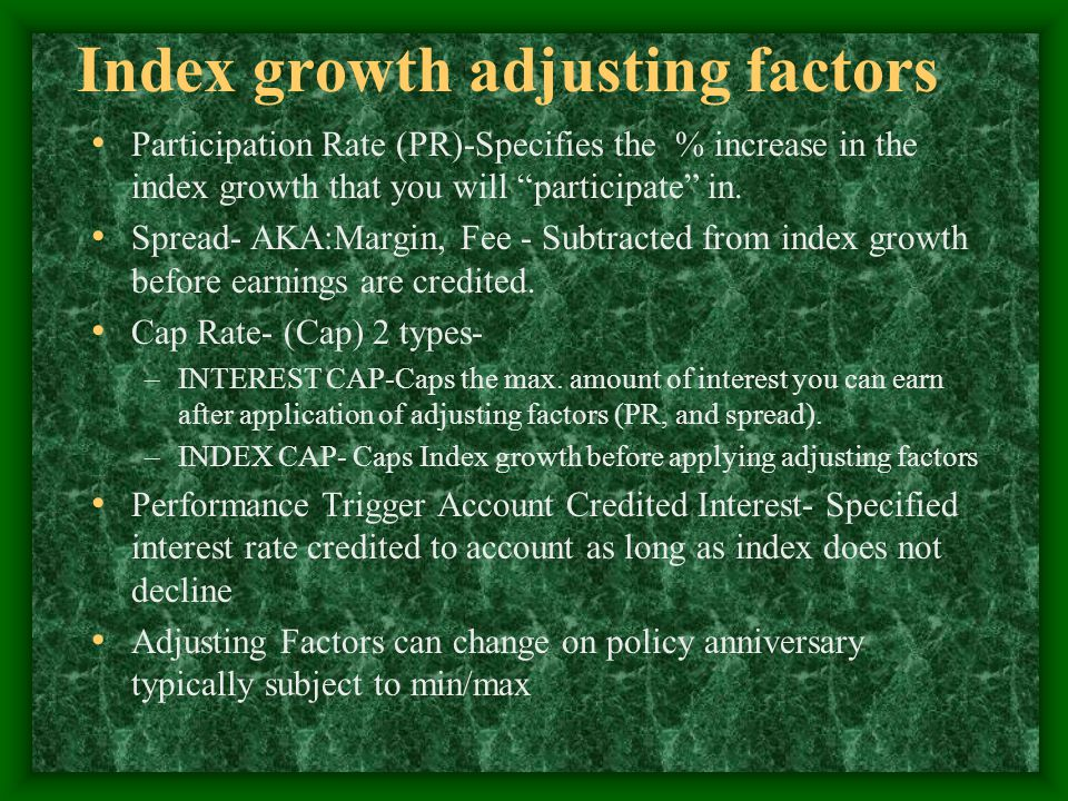 Index growth adjusting factors Participation Rate (PR)-Specifies the % increase in the index growth that you will participate in.