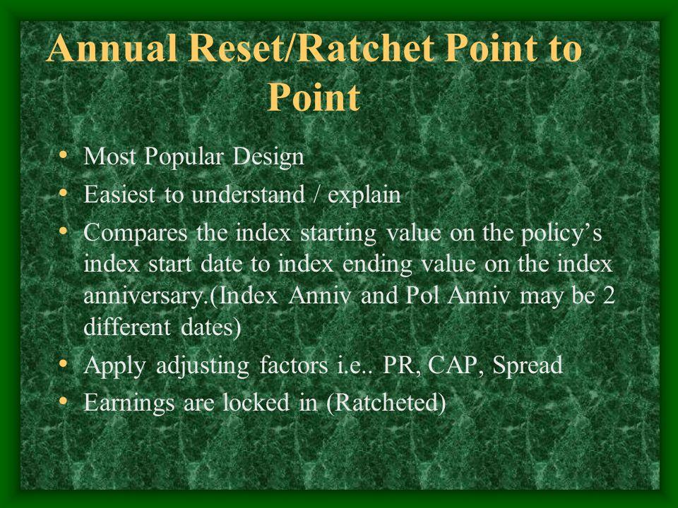Annual Reset/Ratchet Pt to Pt 100K prem, 100% PR, 6.25% earnings cap, No spread.