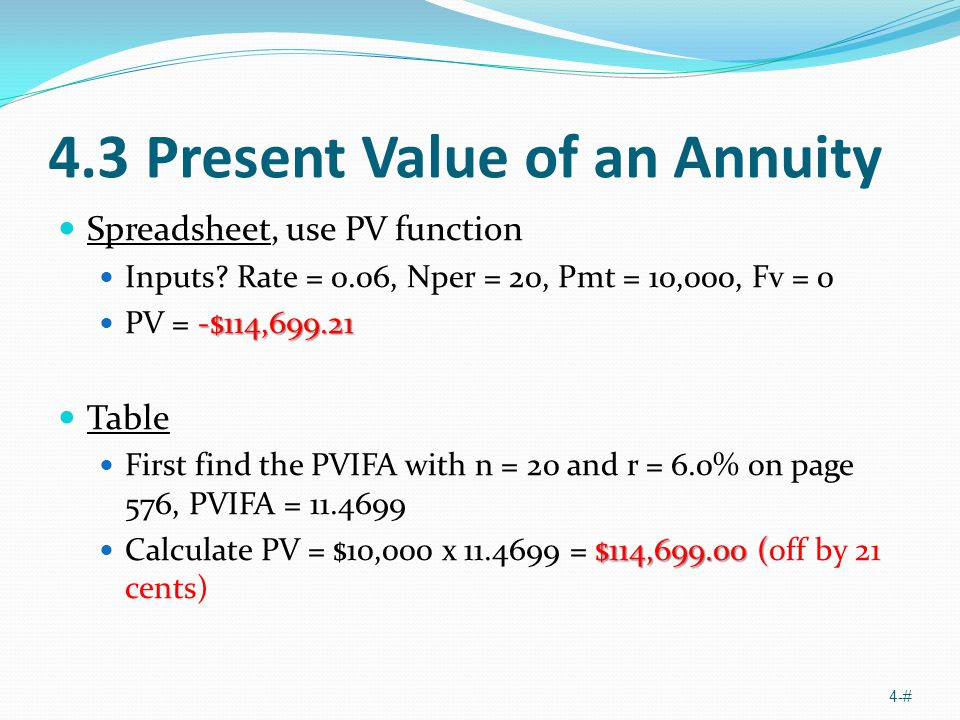 4.3 Present Value of an Annuity Spreadsheet, use PV function Inputs? Rate = 0.06, Nper = 20, Pmt = 10,000, Fv = 0 -$114,699.21 PV = -$114,699.21 Table