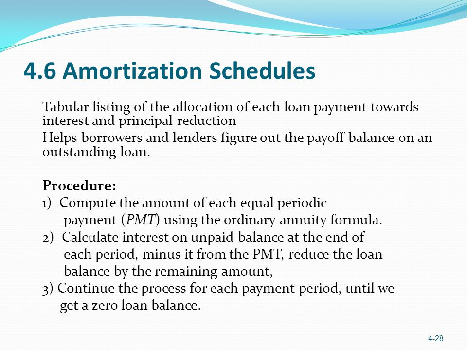 4.6 Amortization Schedules Tabular listing of the allocation of each loan payment towards interest and principal reduction Helps borrowers and lenders figure out the payoff balance on an outstanding loan.