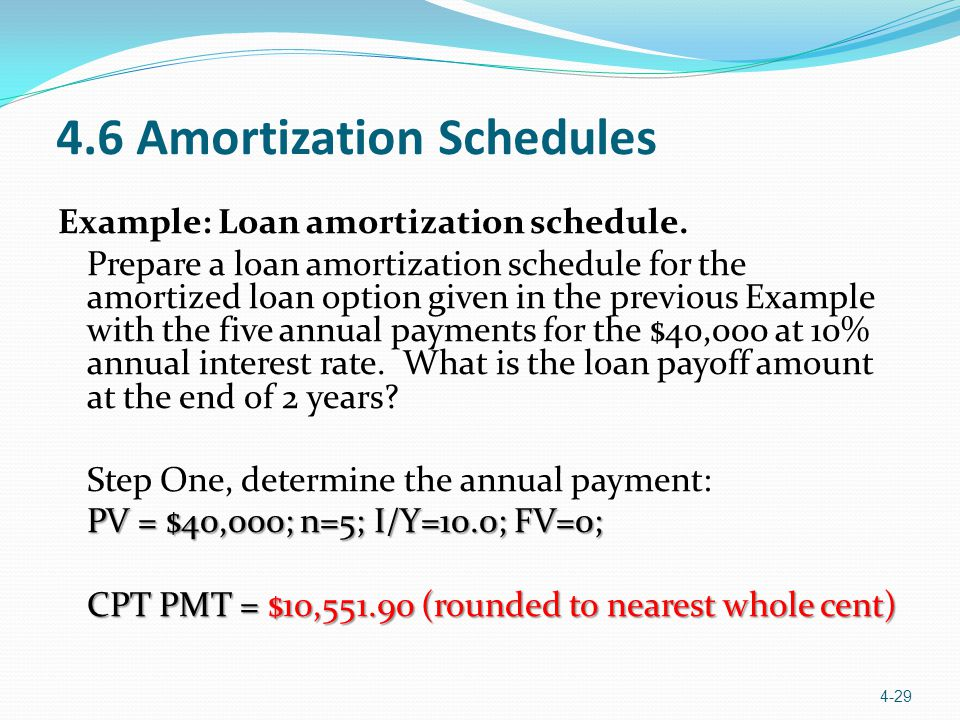 4.6 Amortization Schedules Example: Loan amortization schedule. Prepare a loan amortization schedule for the amortized loan option given in the previo