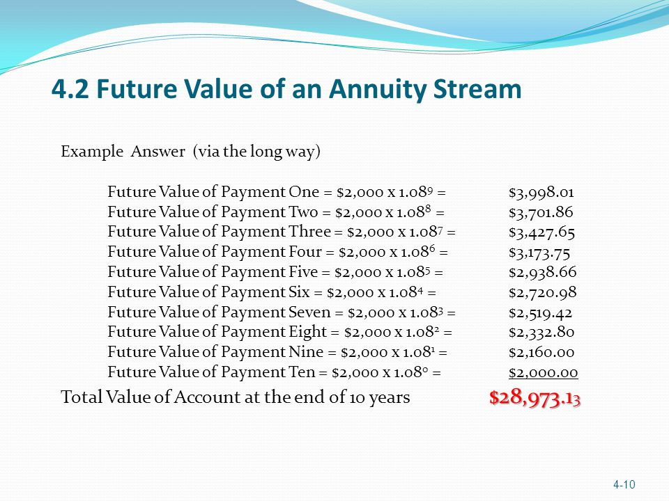 Example Answer (via the long way) Future Value of Payment One = $2,000 x 1.08 9 = $3,998.01 Future Value of Payment Two = $2,000 x 1.08 8 = $3,701.86