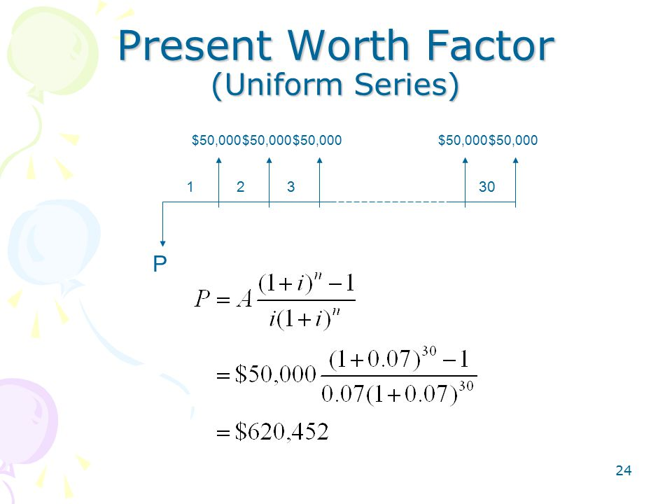 24 Present Worth Factor (Uniform Series) P 12330 $50,000