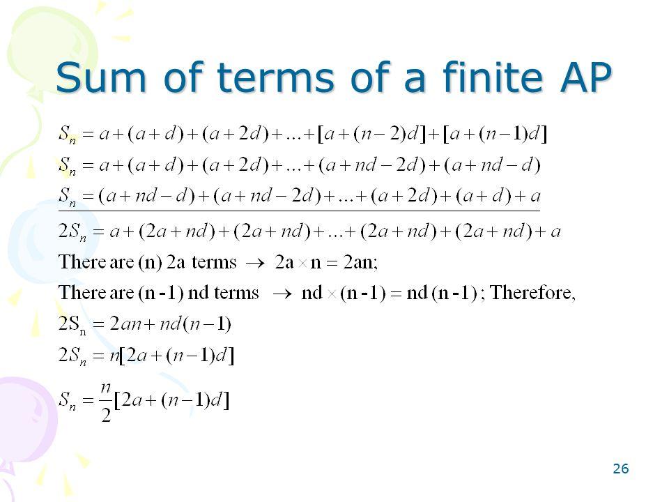 26 Sum of terms of a finite AP