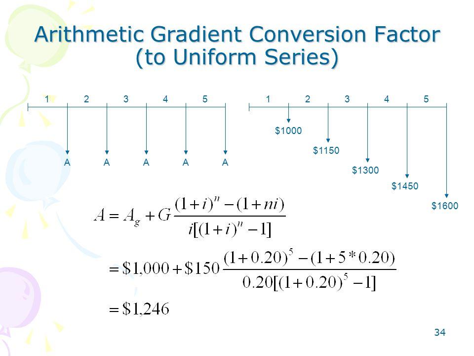 34 Arithmetic Gradient Conversion Factor (to Uniform Series) 1234512345 AAAAA $1000 $1150 $1300 $1450 $1600