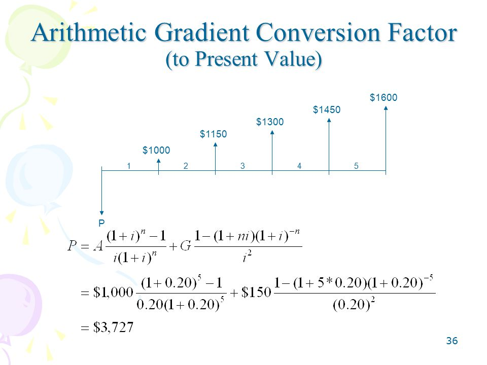 36 Arithmetic Gradient Conversion Factor (to Present Value) $1000 $1150 $1300 $1450 $1600 12345 P