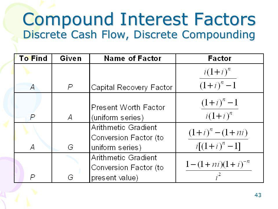 43 Compound Interest Factors Discrete Cash Flow, Discrete Compounding