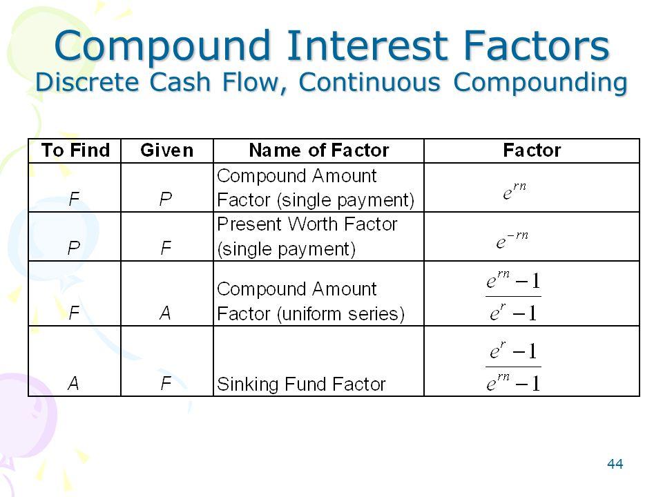 44 Compound Interest Factors Discrete Cash Flow, Continuous Compounding