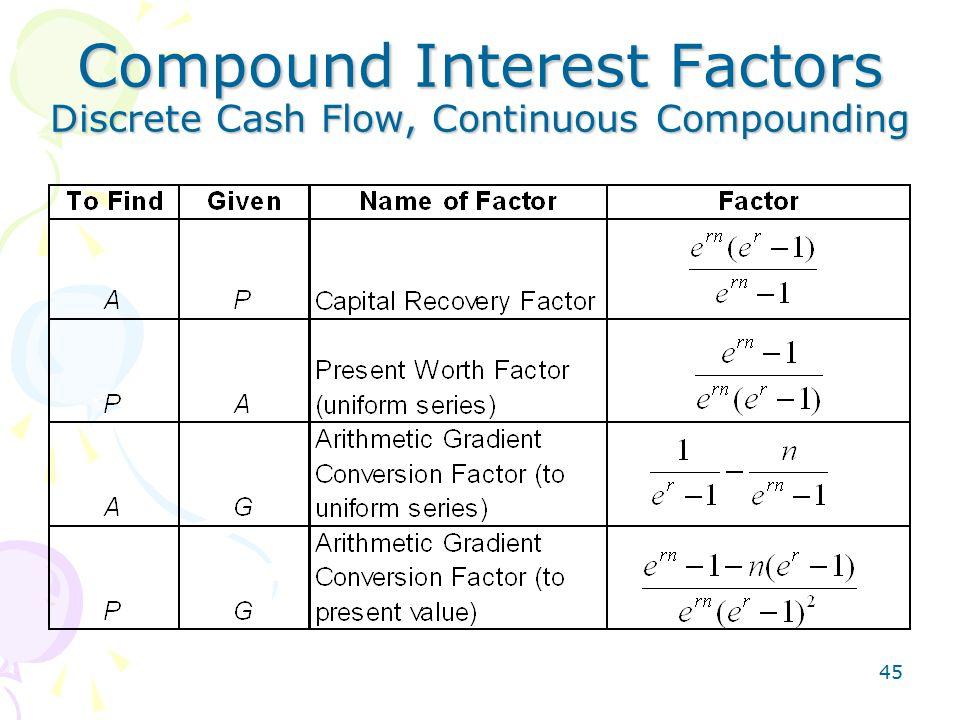 45 Compound Interest Factors Discrete Cash Flow, Continuous Compounding