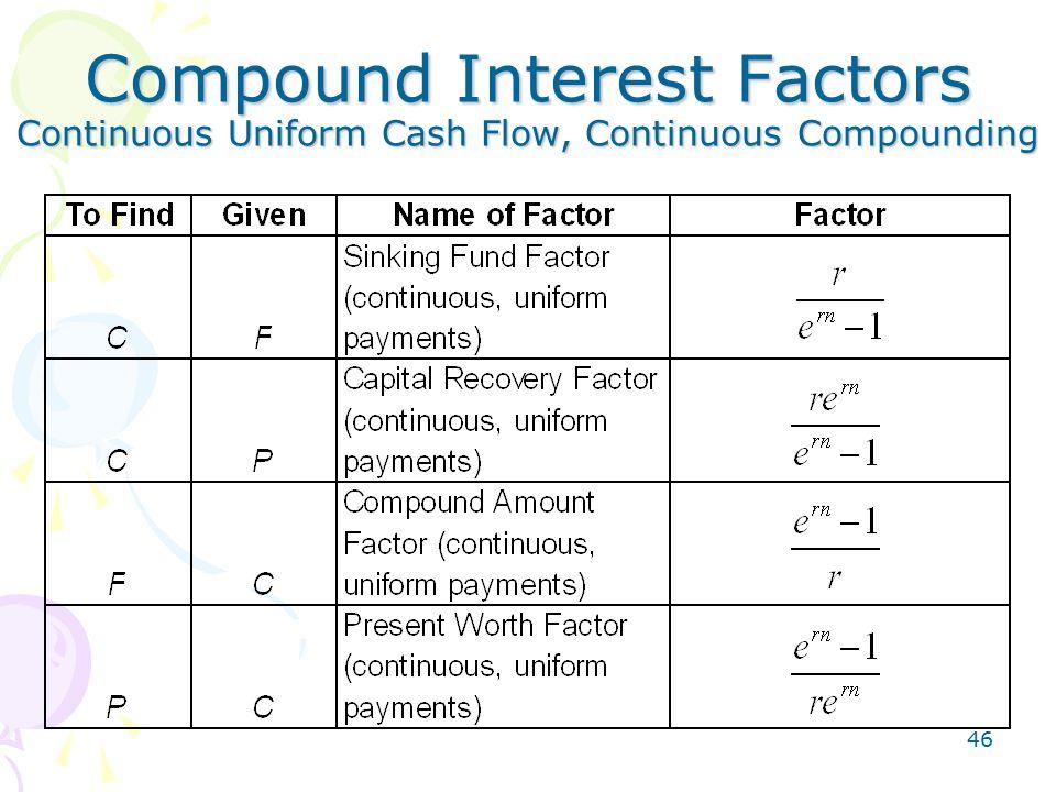 46 Compound Interest Factors Continuous Uniform Cash Flow, Continuous Compounding