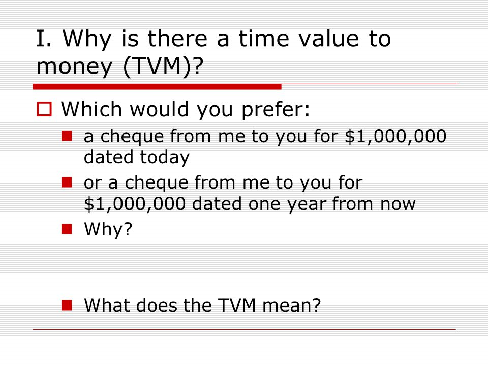I.Why is there a time value to money (TVM).