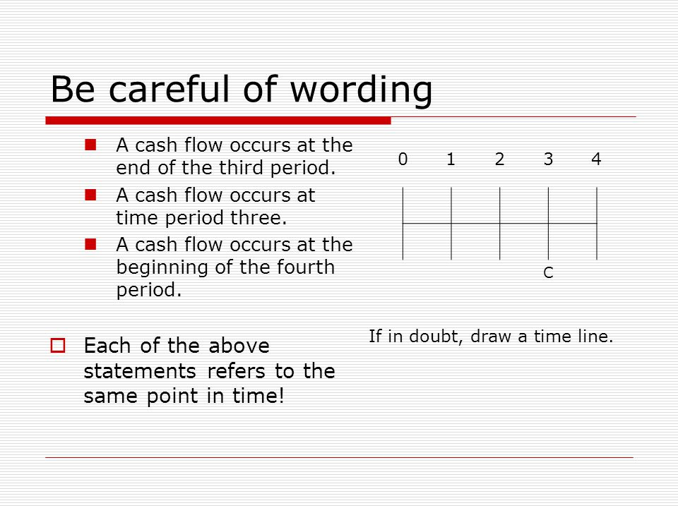 Be careful of wording A cash flow occurs at the end of the third period. A cash flow occurs at time period three. A cash flow occurs at the beginning