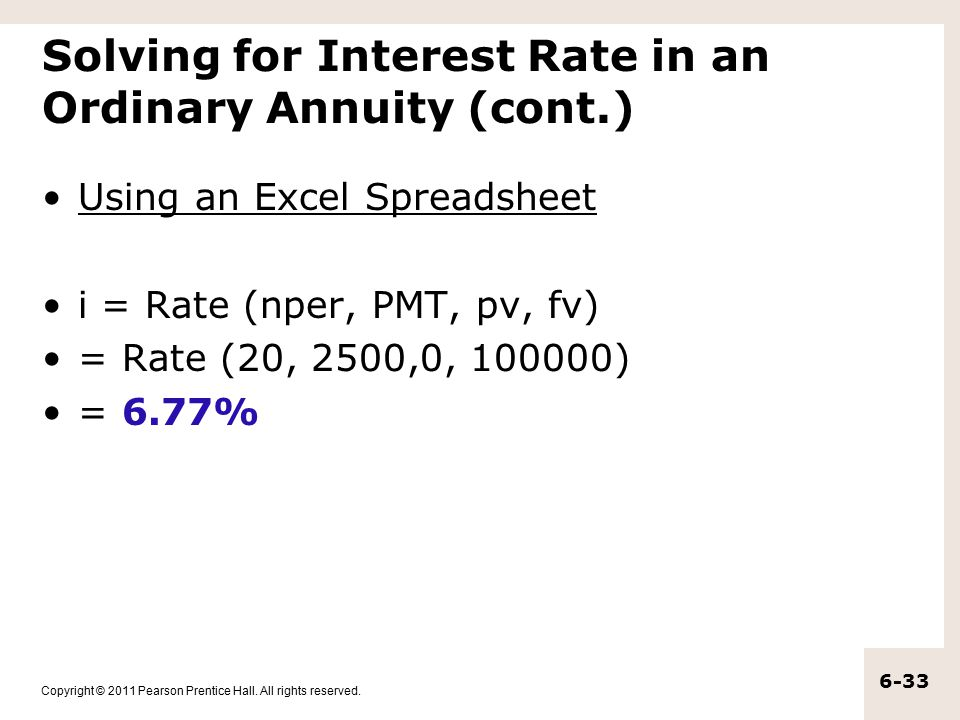 Copyright © 2011 Pearson Prentice Hall. All rights reserved. 6-33 Solving for Interest Rate in an Ordinary Annuity (cont.) Using an Excel Spreadsheet