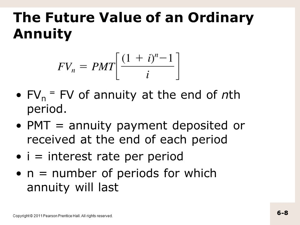 Copyright © 2011 Pearson Prentice Hall. All rights reserved. 6-8 The Future Value of an Ordinary Annuity FV n = FV of annuity at the end of nth period