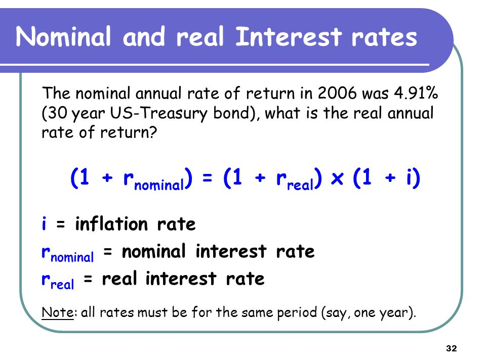 32 Nominal and real Interest rates The nominal annual rate of return in 2006 was 4.91% (30 year US-Treasury bond), what is the real annual rate of return.