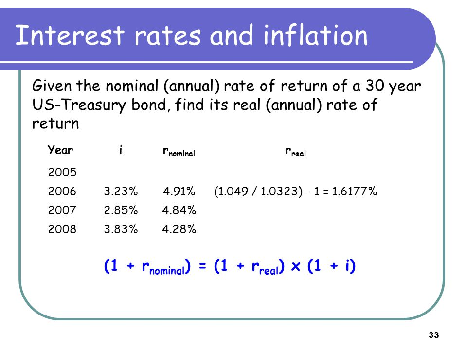 33 Interest rates and inflation Given the nominal (annual) rate of return of a 30 year US-Treasury bond, find its real (annual) rate of return (1 + r nominal ) = (1 + r real ) x (1 + i) Yearir nominal r real 2005 20063.23%4.91%(1.049 / 1.0323) – 1 = 1.6177% 20072.85%4.84% 20083.83%4.28%