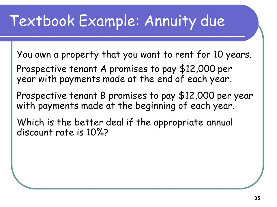 35 Textbook Example: Annuity due You own a property that you want to rent for 10 years.