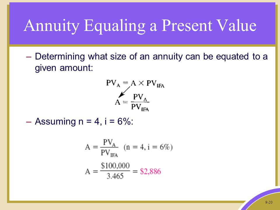 9-20 Annuity Equaling a Present Value –Determining what size of an annuity can be equated to a given amount: –Assuming n = 4, i = 6%:
